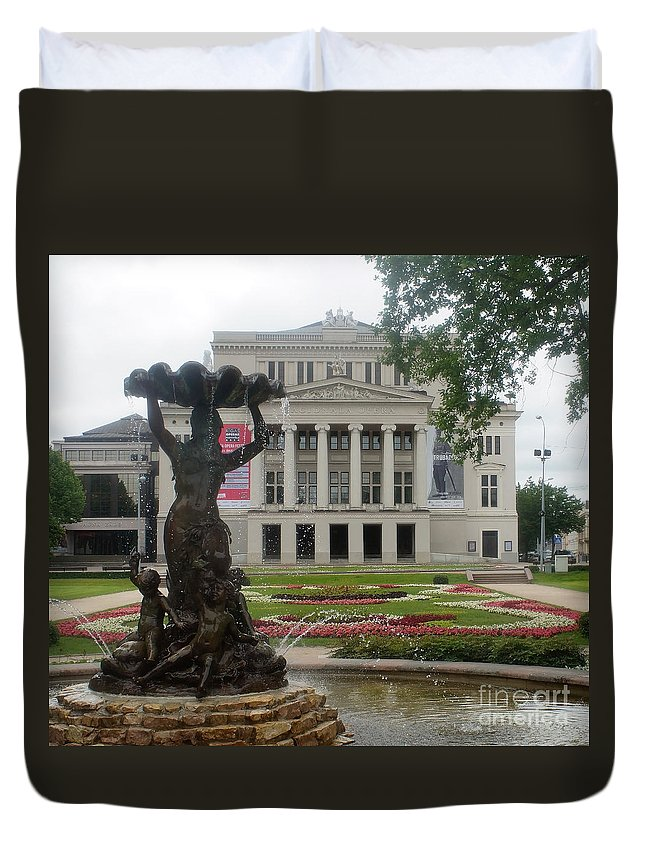 Europe Duvet Cover featuring the photograph Riga National Opera House by Rudi Prott