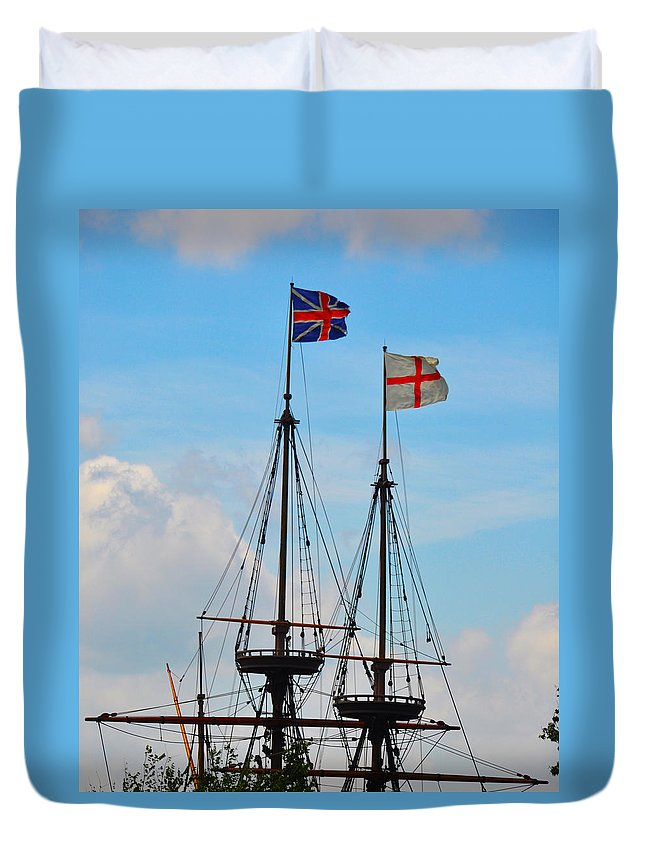 Rigging Duvet Cover featuring the photograph Rigging And Flags by Bill Cannon