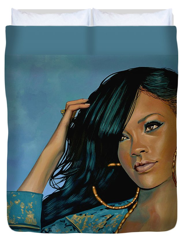 Rihanna Duvet Cover featuring the painting Rihanna Painting by Paul Meijering