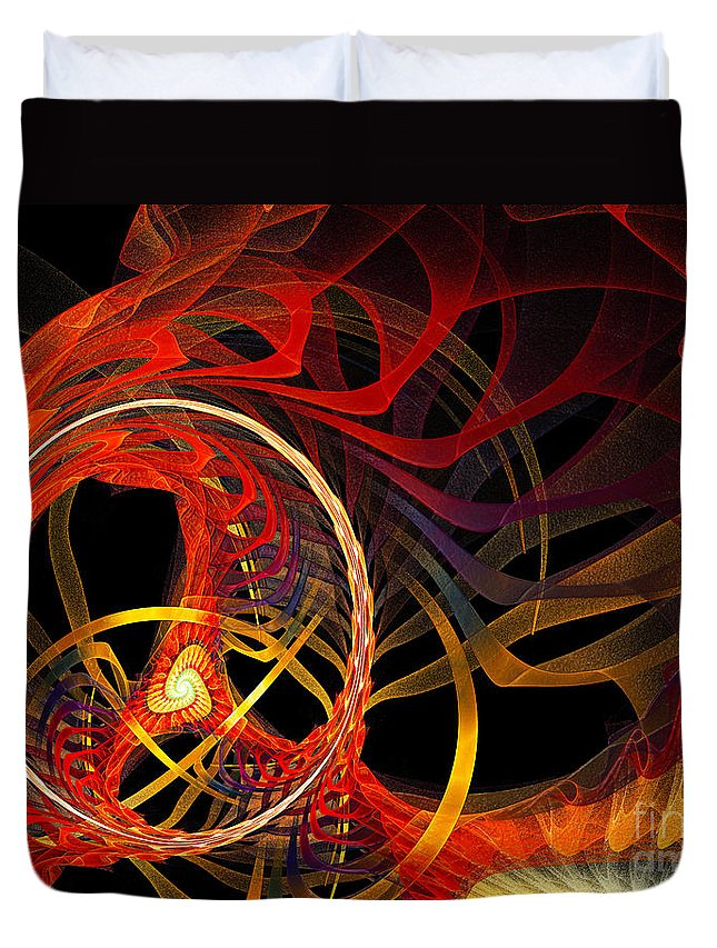 Andee Design Abstract Duvet Cover featuring the digital art Ring Of Fire by Andee Design