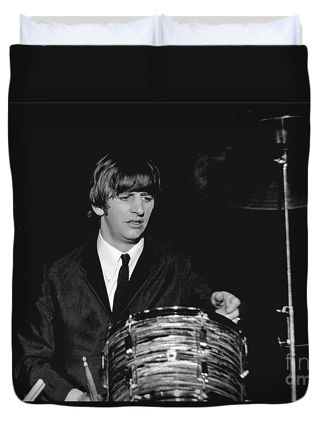 Beatles Duvet Cover featuring the photograph Ringo Starr, Beatles Concert, 1964 by Larry Mulvehill