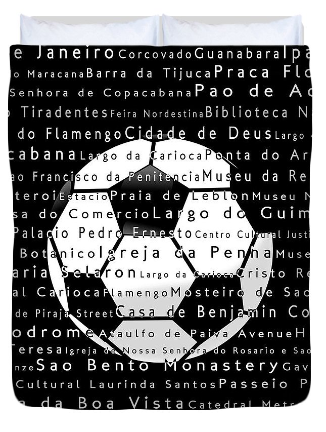 City Duvet Cover featuring the digital art Rio de Janeiro in Words Black Soccer by Sabine Jacobs