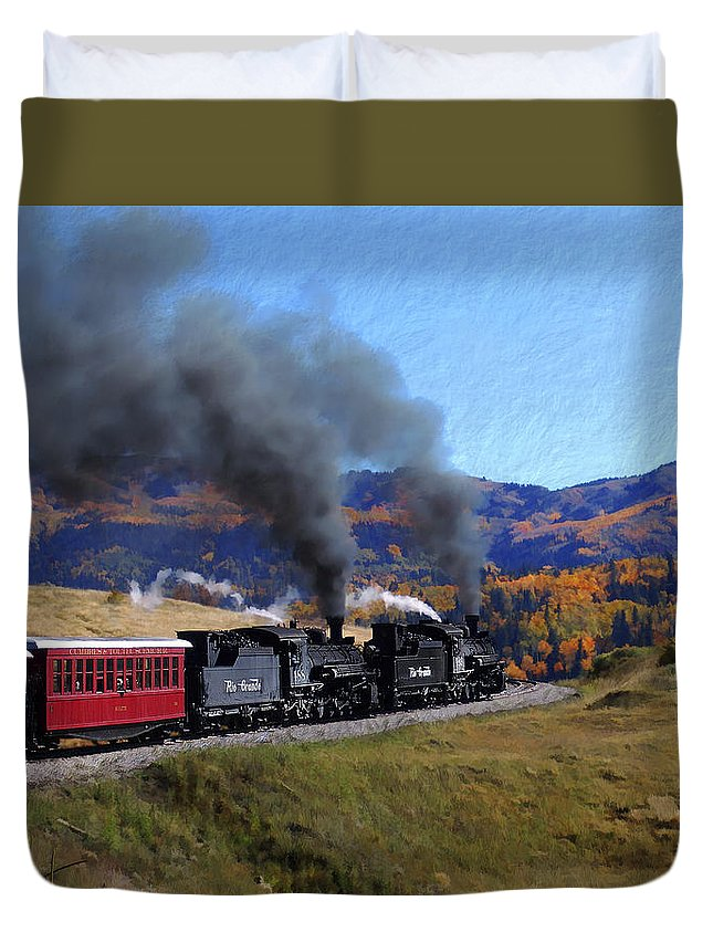 Railroad Duvet Cover featuring the photograph Rio Grande 488 And 489 by Kurt Van Wagner