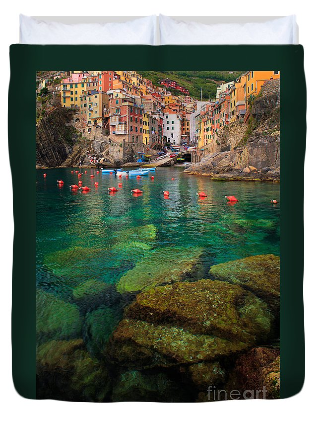 Cinque Terre Duvet Cover featuring the photograph Riomaggiore Bay by Inge Johnsson