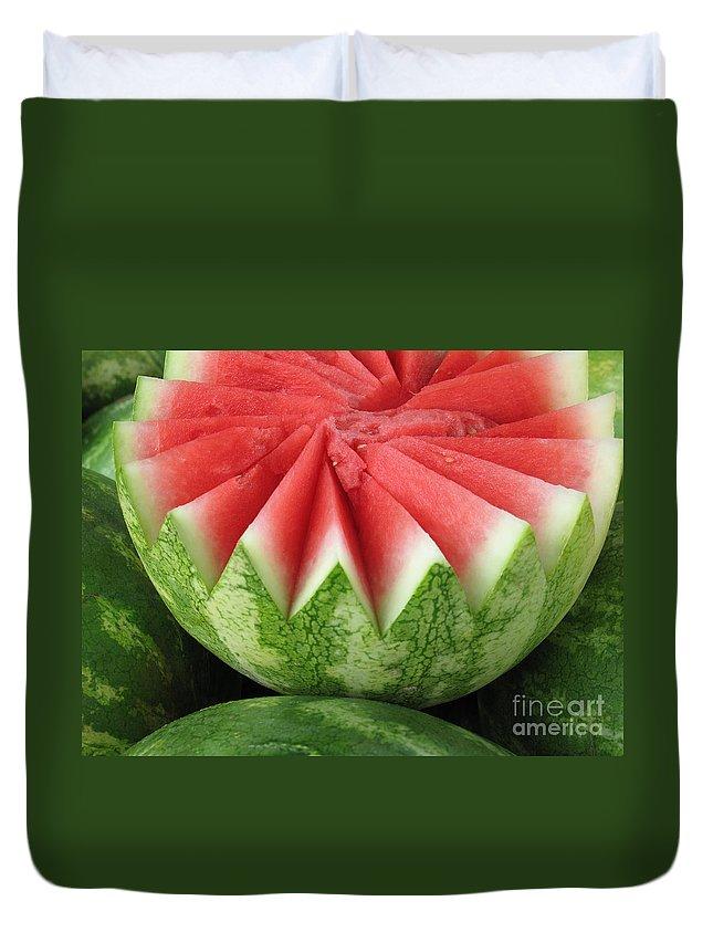 Watermelon Duvet Cover featuring the photograph Ripe Watermelon by Ann Horn