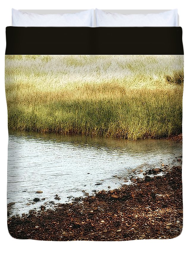 Marsh Duvet Cover featuring the painting Rippled Water Rippled Reeds by RC DeWinter