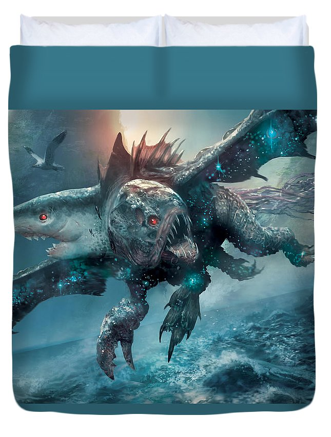 Ryan Barger Duvet Cover featuring the digital art Riptide Chimera by Ryan Barger
