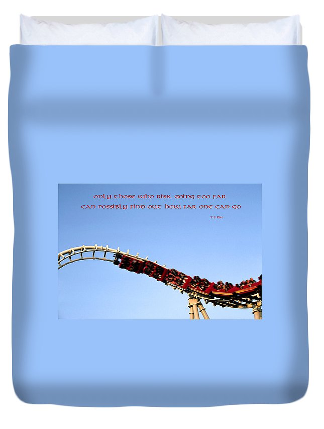 Roller Coaster Twisting Upside Down Duvet Cover featuring the photograph Risk by Sally Weigand