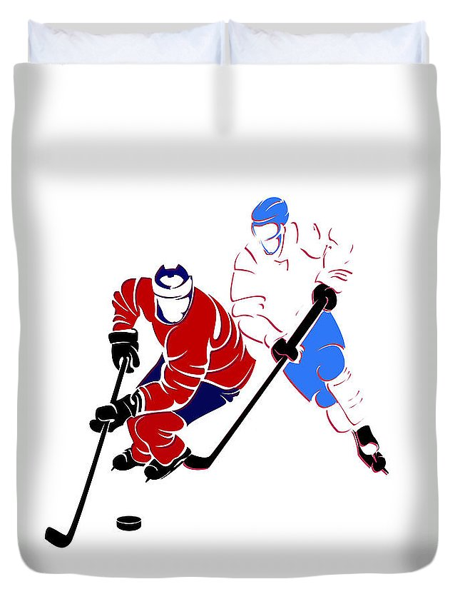 Canadiens Duvet Cover featuring the photograph Rivalries Canadiens And Nordiques by Joe Hamilton