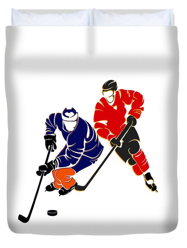 Oilers.edmonton Duvet Cover featuring the photograph Rivalries Oilers And Flames by Joe Hamilton