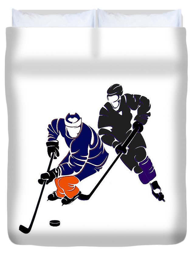 Oilers Duvet Cover featuring the photograph Rivalries Oilers And Kings by Joe Hamilton