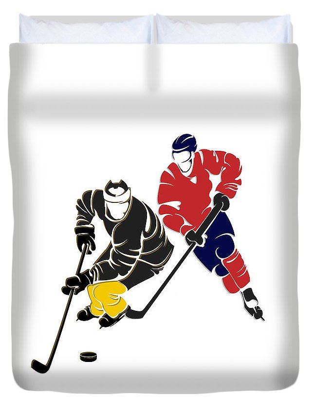 Penguins Duvet Cover featuring the photograph Rivalries Penguins And Capitals by Joe Hamilton