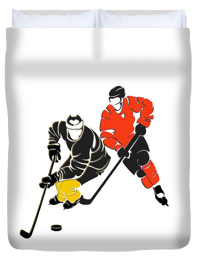Penguins Duvet Cover featuring the photograph Rivalries Penguins And Flyers by Joe Hamilton