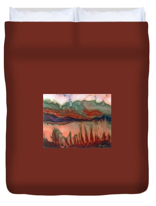 Landscape Duvet Cover featuring the painting River Aflame by Deborah Younglao