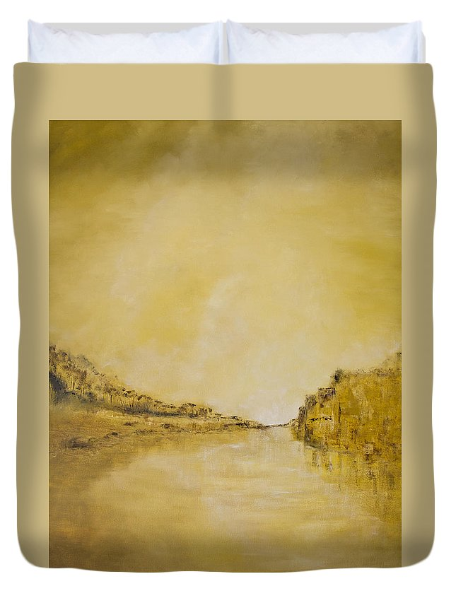 2014 Duvet Cover featuring the painting River Bank Slumber by Melanie Meyer