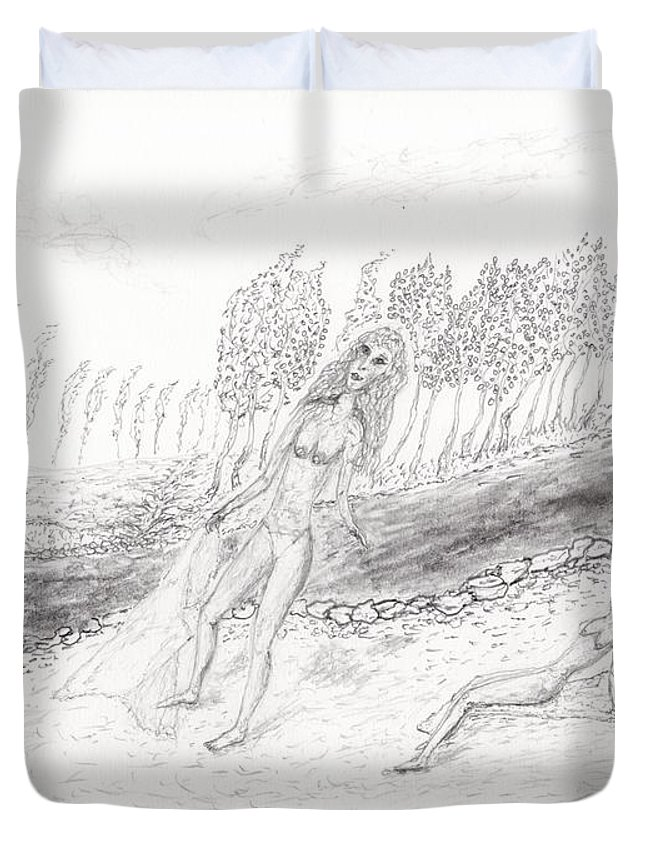 Jim Taylor Duvet Cover featuring the drawing River Beach by Jim Taylor