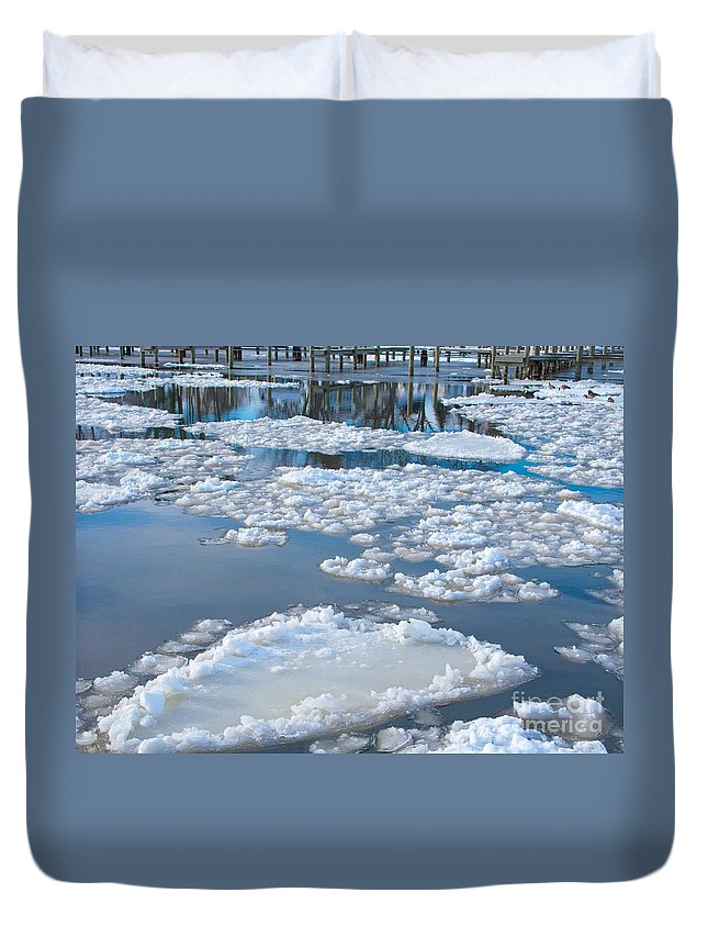Ice Duvet Cover featuring the photograph River Ice by Ann Horn