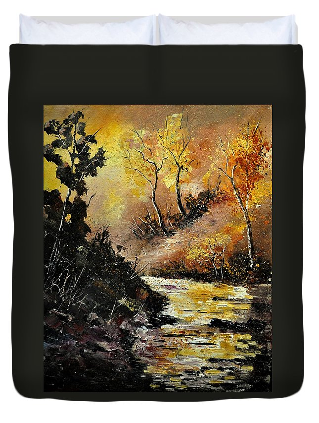 Landscape Duvet Cover featuring the painting River in autumn 452121 by Pol Ledent