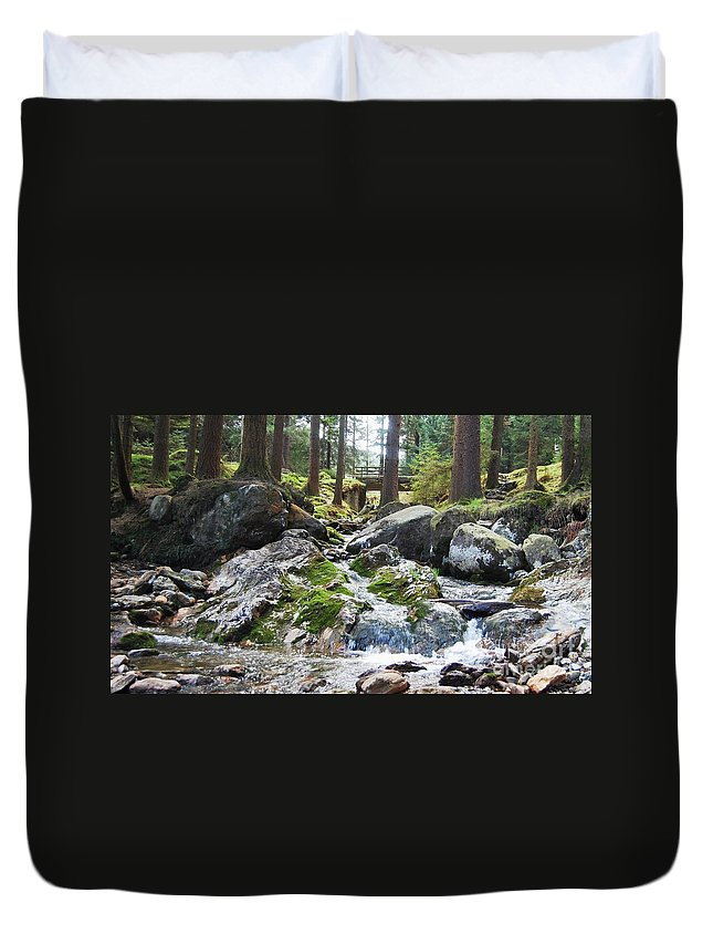 Ireland Art River Woodland Outdoors Rocks Travel Stock Shot Rural Wicklow Countryside Sylvan Setting Duvet Cover featuring the photograph A River Scene In Wicklow, Ireland by Courtney Dagan