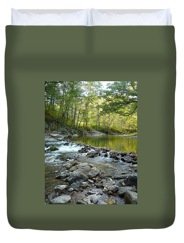 Bullpasture Gorge Duvet Cover featuring the photograph River Rocks by Two Bridges North