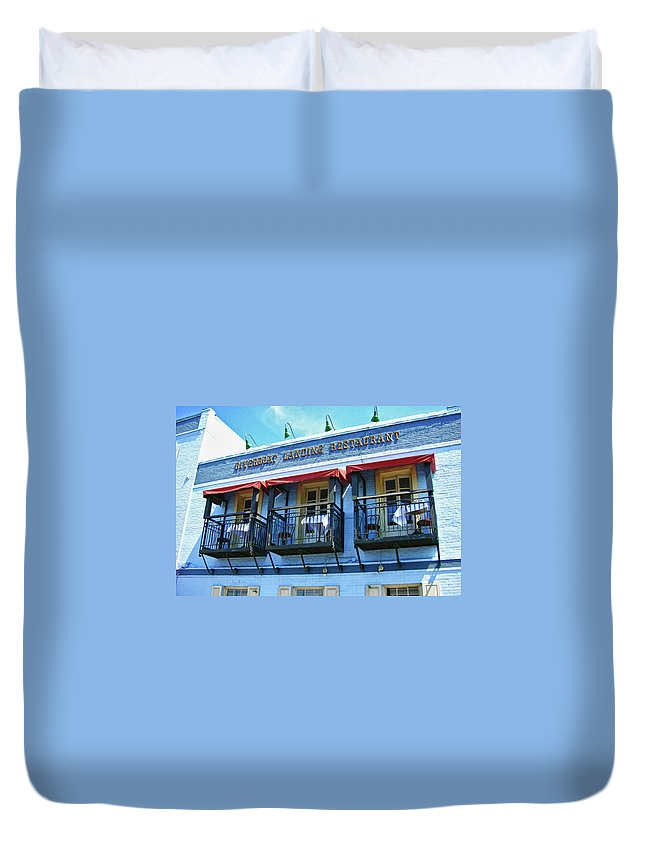Water Street Duvet Cover featuring the photograph Riverboat Landing 0769 by Guy Whiteley