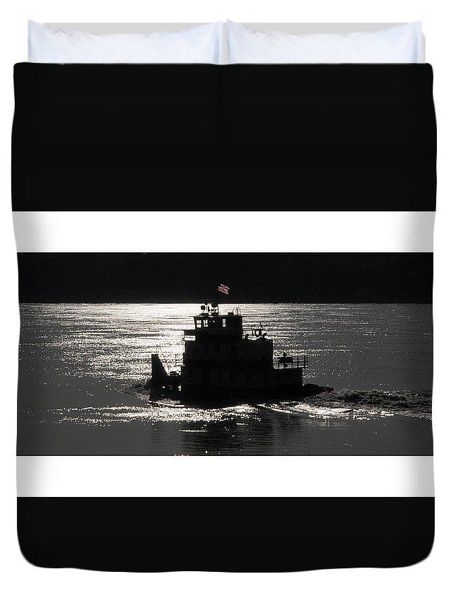 Riverboat Duvet Cover featuring the photograph Tugboat by Leon Hollins III