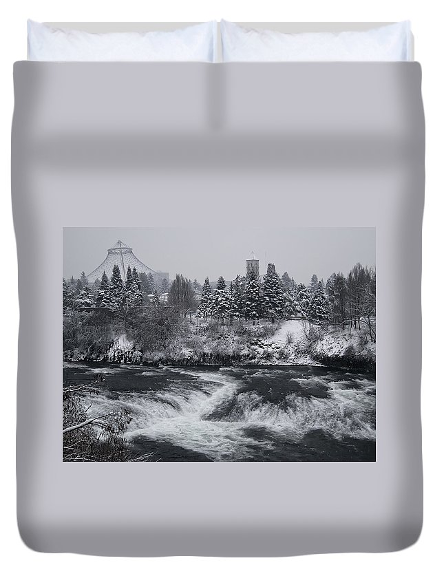 Spokane Duvet Cover featuring the photograph Riverfront Park Winter Storm - Spokane Washington by Daniel Hagerman