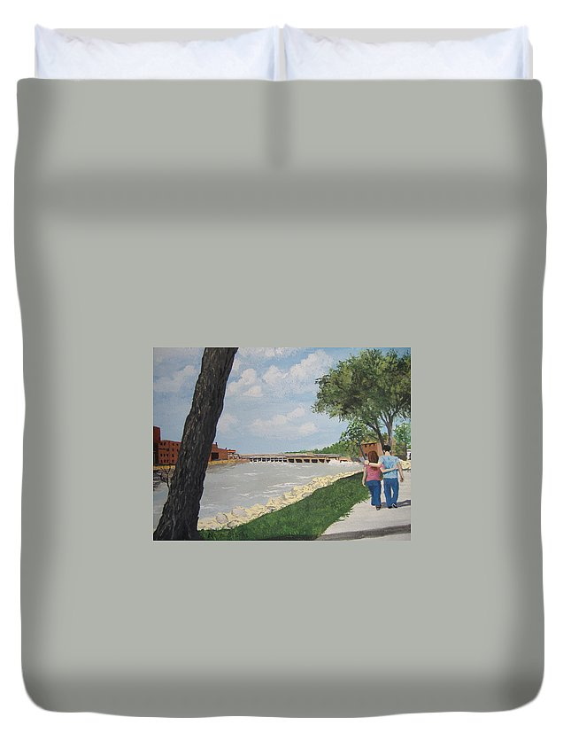 River Duvet Cover featuring the painting Riverfront Walk by Norm Starks