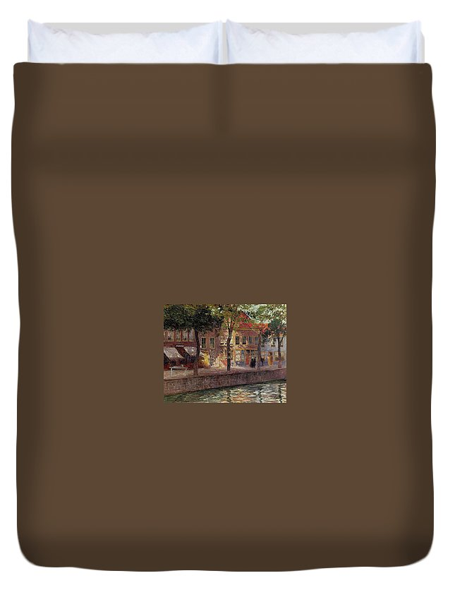 Riverside Walk By Emile Claus Duvet Cover featuring the painting Riverside Walk by MotionAge Designs