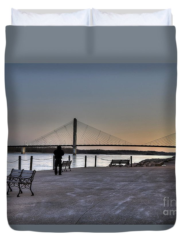 2012 Duvet Cover featuring the photograph Riverwalk by Larry Braun