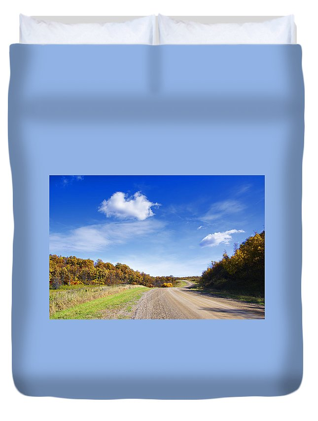 Road Duvet Cover featuring the photograph Road Approaching Hill by Donald Erickson