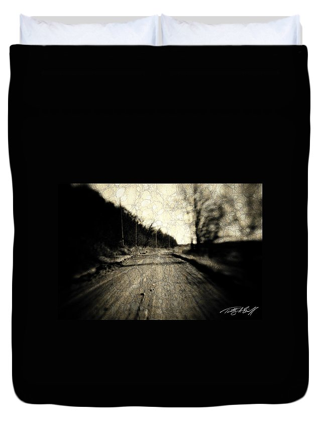 B&w Duvet Cover featuring the photograph Road Of The Past by Timothy Bischoff