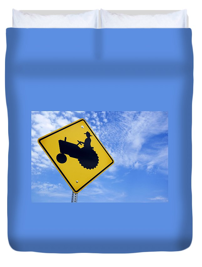 Sign Duvet Cover featuring the photograph Road Sign Tractor Crossing by Donald Erickson