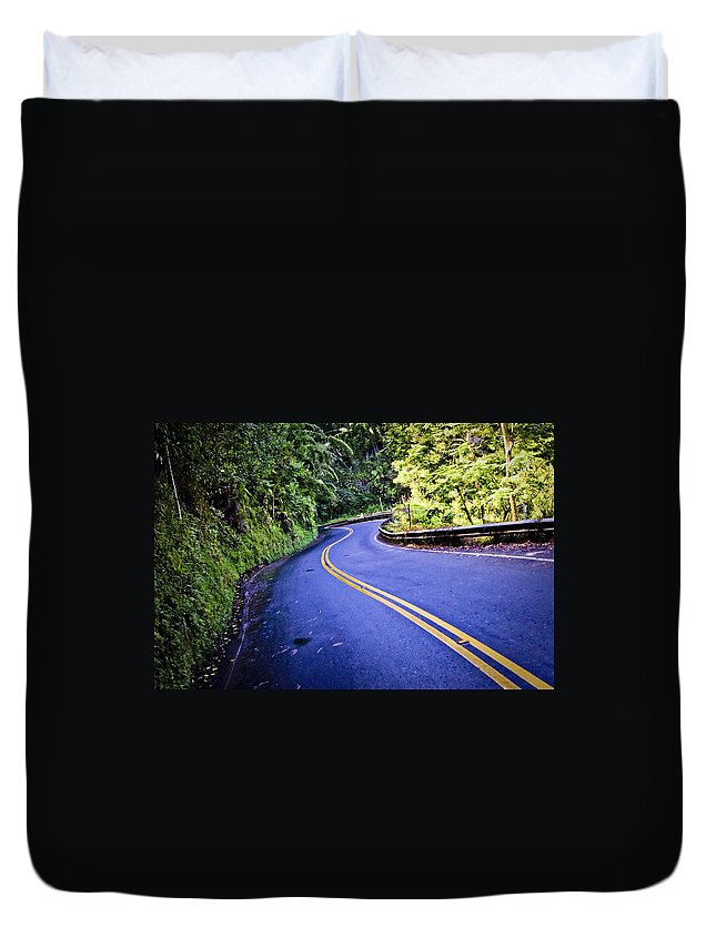 3scape Duvet Cover featuring the photograph Road To Hana by Adam Romanowicz
