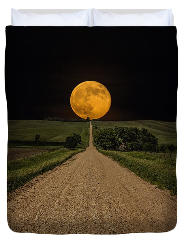 Road To Nowhere Duvet Cover featuring the photograph Road To Nowhere - Supermoon by Aaron J Groen