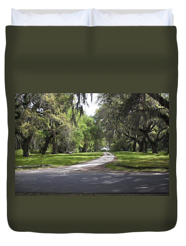 Road Duvet Cover featuring the photograph Road To Ruins by Jean Macaluso