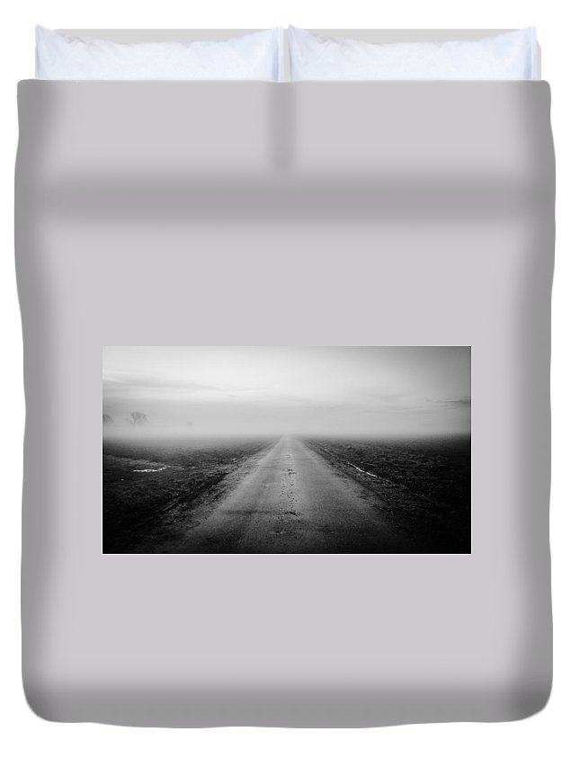 Landscape Duvet Cover featuring the photograph Road To Spring by Noze P