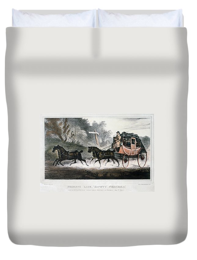 1830 Duvet Cover featuring the painting Road Travel/stagecoach by Granger