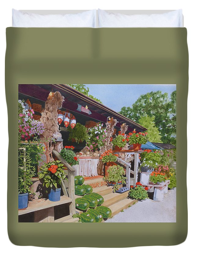 Landscape Duvet Cover featuring the mixed media Roadside Stand by Constance Drescher