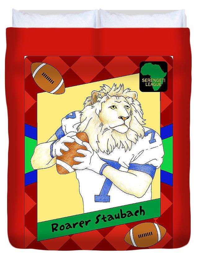 Football Duvet Cover featuring the digital art Roarer Staubach by Alison Stein