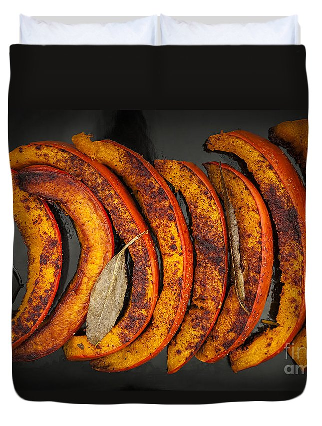 Pumpkin Duvet Cover featuring the photograph Roasted Pumpkin Slices by Elena Elisseeva