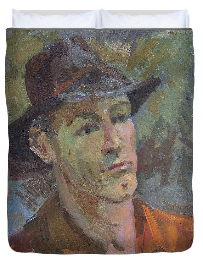 Robert Duvet Cover featuring the painting Robert by Diane McClary