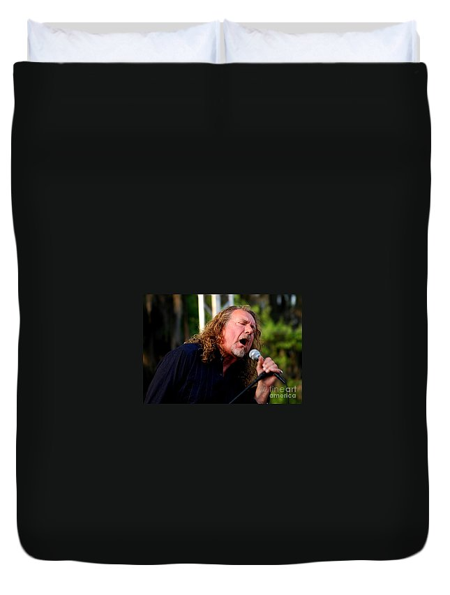 Music Duvet Cover featuring the photograph Robert Plant 2 by Angela Murray