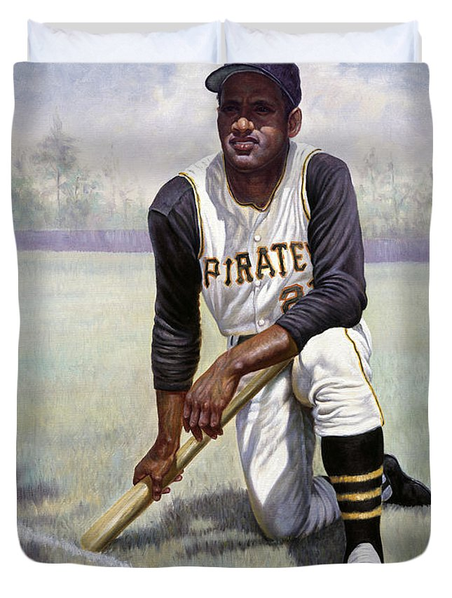 Puerto Rico Duvet Cover featuring the painting Roberto Clemente by Gregory Perillo