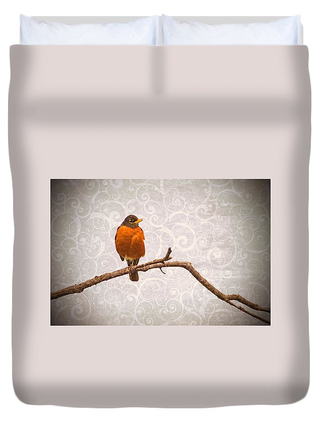 Robin Duvet Cover featuring the photograph Robin With Damask Background by Peggy Collins