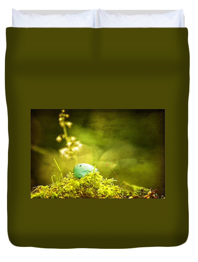 Egg Duvet Cover featuring the photograph Robin's Egg On Moss by Peggy Collins