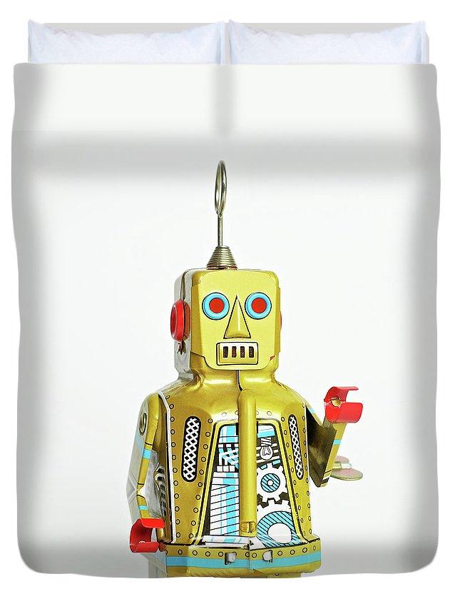 Cut Out Duvet Cover featuring the photograph Robots by Juj Winn