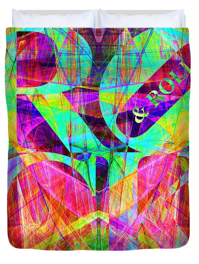 Abstract Duvet Cover featuring the digital art Rock And Roll 20130708 Fractal by Wingsdomain Art and Photography