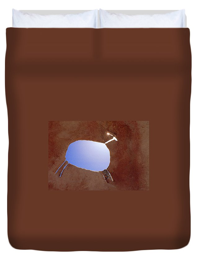 Pictograph Duvet Cover featuring the photograph Rock Art by Jerry McElroy