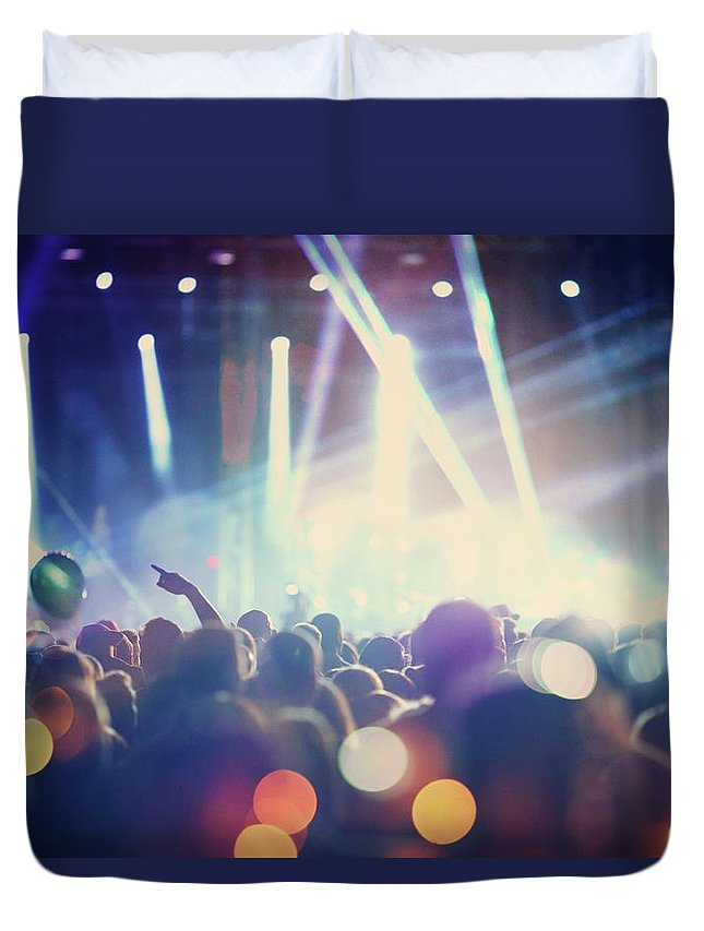 Event Duvet Cover featuring the photograph Rock Concert by Gilaxia